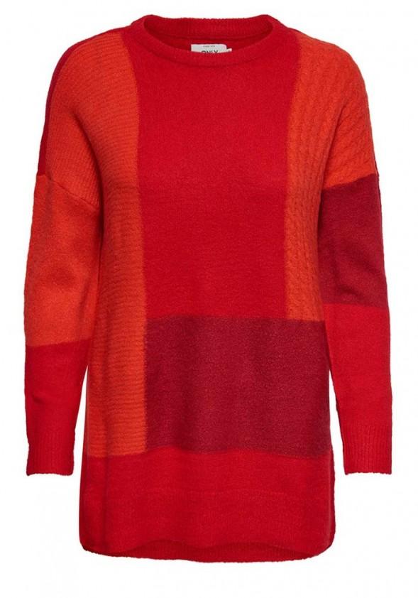 Platus raudonas ONLY megztinis