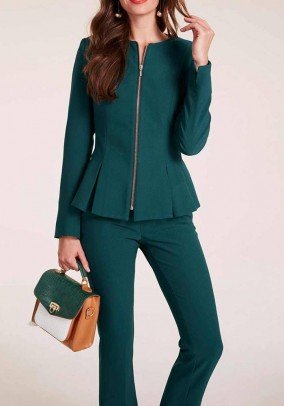 Peplum short jacket, dark green