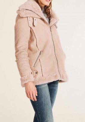 Sheepskin look jacket, powder