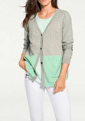 Designer cashmere cardigan, gray-mint