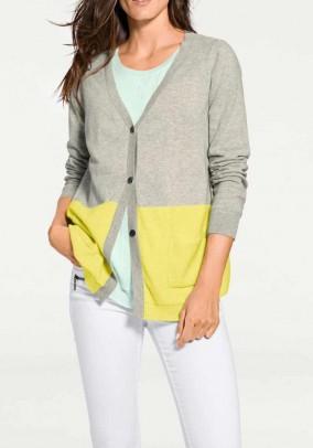 Designer cashmere cardigan, gray-yellow