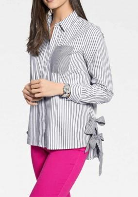 Designer striped blouse, black and white