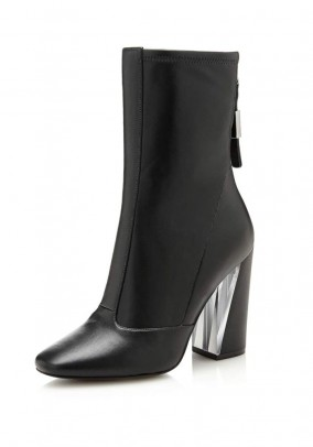 Branded ankle boot, black
