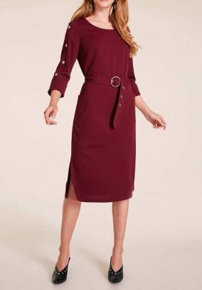 Bordo suknelė su diržu. Liko 46 dydis