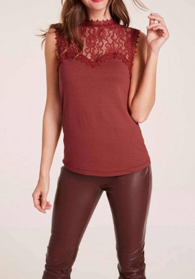 Jersey lace top, rust brown