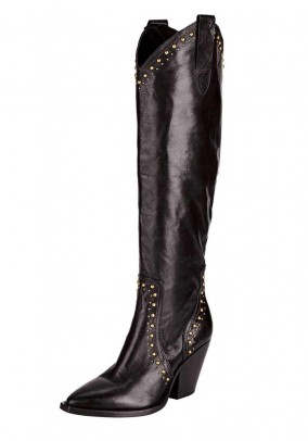 Leather boots m. Studs, dark brown