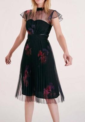 Designer pleated dress, black-burgundy