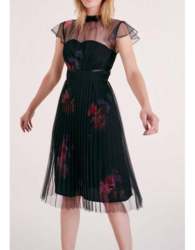Kokteilinė klostuota suknelė