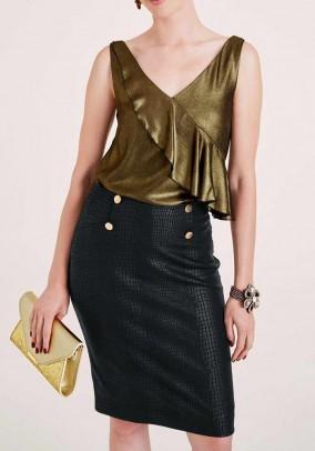 Designer blouse top, gold-black