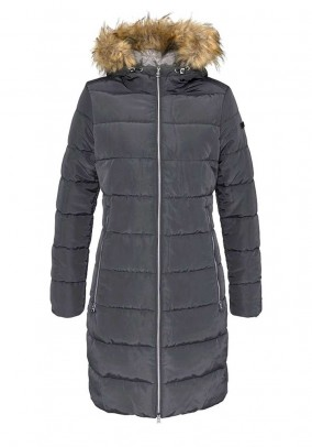 Branded quilted coat, anthracite