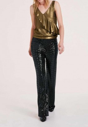 Designer sequined Marlene pants, black