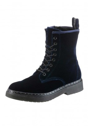 Brand velvet lace-up boots, navy
