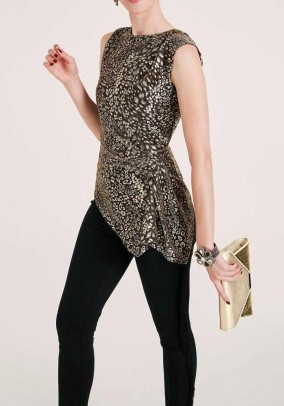 Blouse top, black and gold