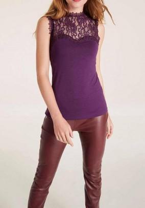 Jersey lace top, purple