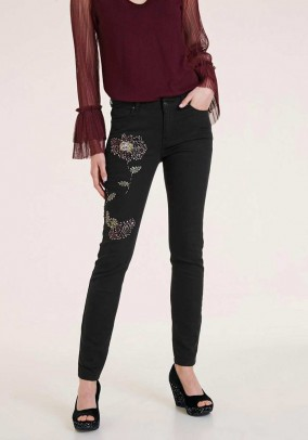 Stretch jeans with m. Pearls, black