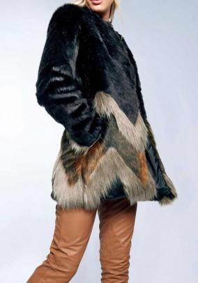 Designer faux fur jacket, black-colored