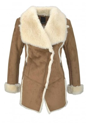 Lambskin look jacket, cognac-ecru