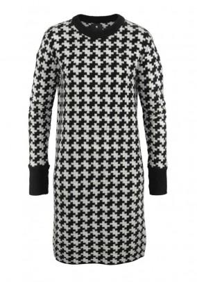 Brand knit dress, black and white