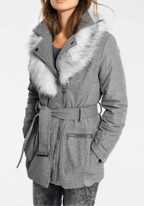 Short coat with weave fur, grey