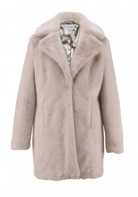 Designer faux fur coat, gray
