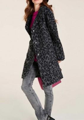 Wool fleece coat, gray-black