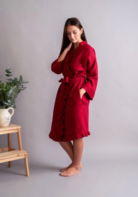 "Red linen robe ""Romantic"""