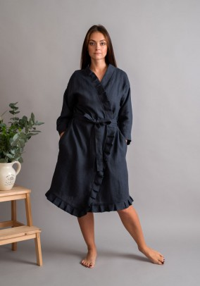 "Graphite linen robe ""Romantic"""