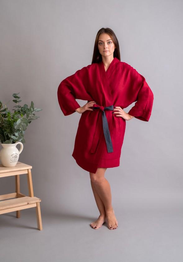 """Lininis raudonas chalatas """"Kimono"""""""