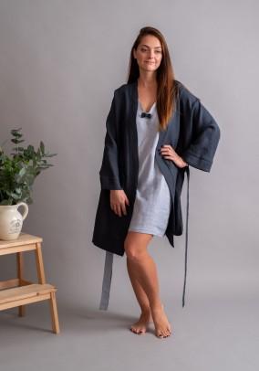 "Lininis grafito spalvos chalatas ""Kimono"". Liko 36/38 dydis"
