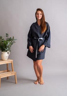 "Lininis grafito spalvos chalatas ""Kimono"""