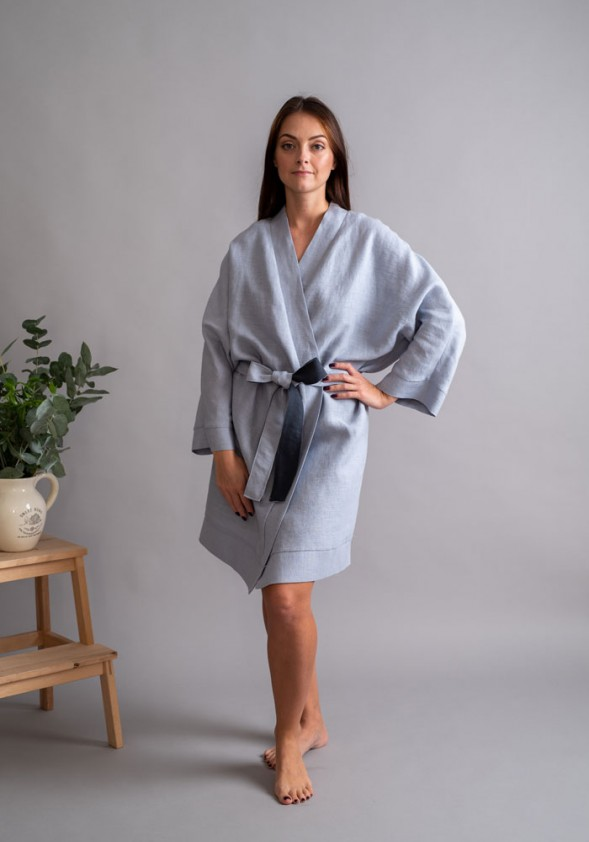 "Lininis melsvas chalatas ""Kimono"""