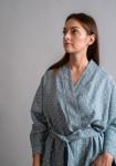 """Lininis taškuotas chalatas """"Kimono"""""""