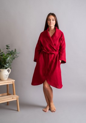 "Red linen robe ""Classic"""