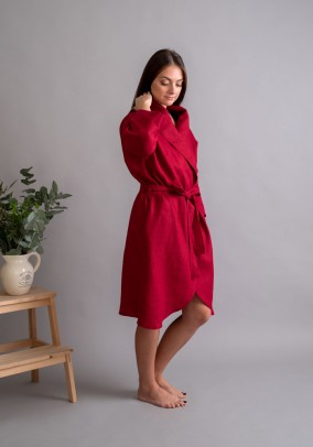 """Red linen robe """"Classic"""""""