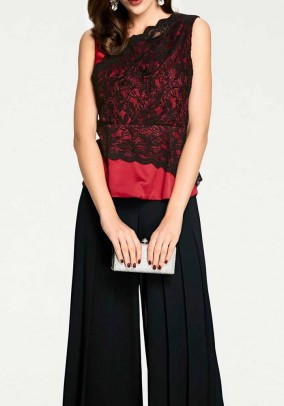 Satin lace shirt, red-black