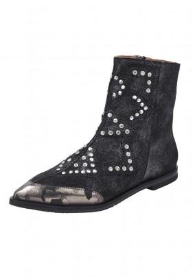 Velours leather bootie, black-metalic