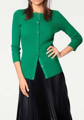 Rib knit cardigan, green