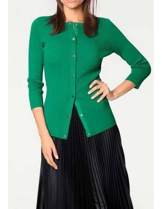 Žalias užsegamas megztinis