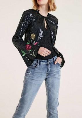 Bolero jacket, black-multicolour