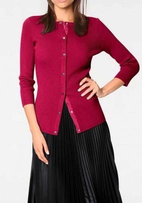 Rožinis užsegamas megztinis