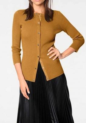 Rib knit cardigan, curry yellow