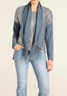Shirt with scarf, blue-silver