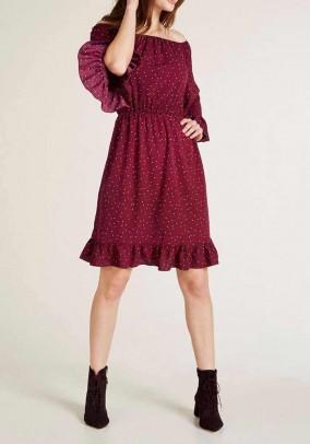Carmen print dress, bordeaux