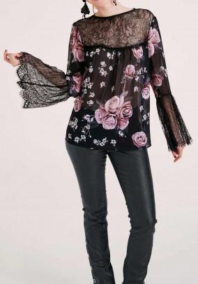 Lace blouse, black-rose