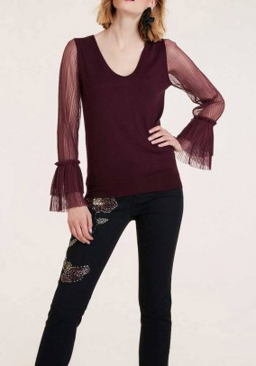 Sweater with pleat sleeves, bordeaux