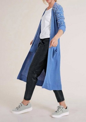 Long cardigan with beads, blue