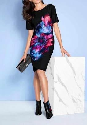 Sheath dress, black-multicolour
