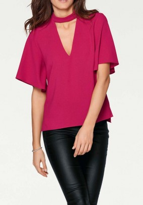 Blouse with cut-out, pink