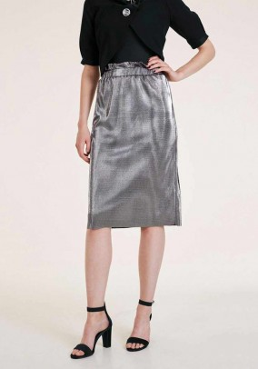 Skirt, silver-coloured metalic