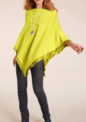 Fine knit poncho with sequins, lime